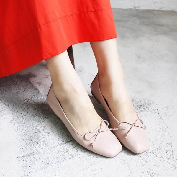 【預購】氣質小方頭芭蕾舞鞋-粉