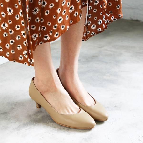 【訂製】大人的素色真皮細跟鞋-淺米