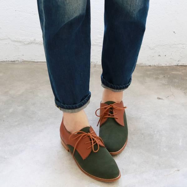 【訂製】經典真皮綁帶德比鞋 - 綠x駝