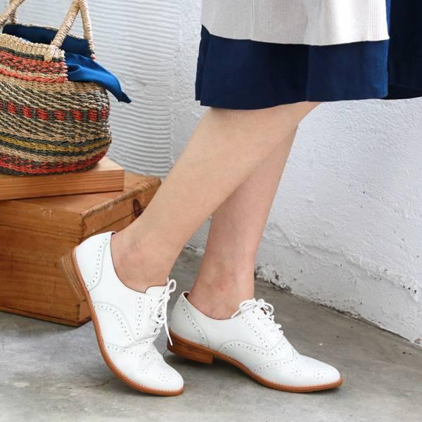 【訂製】外尖內圓/英倫風綁帶真皮牛津鞋-白