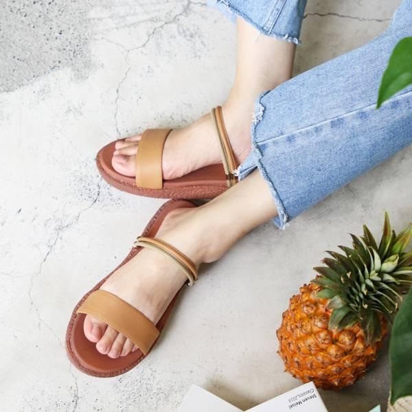 【訂製】Simple+久走不累一字帶兩穿涼鞋-米