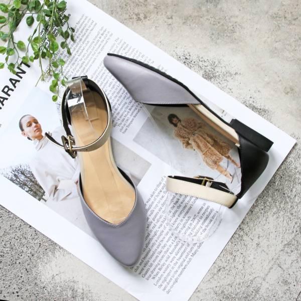 【手工訂製】寬腳版可穿,配色腳踝帶真皮便鞋_莫蘭迪紫