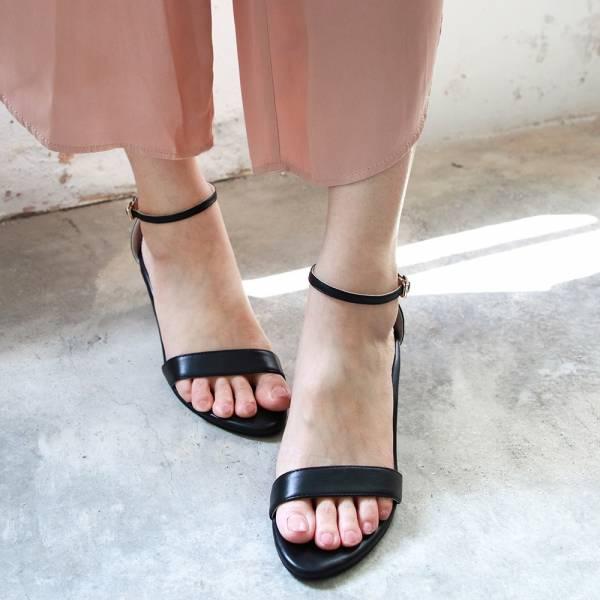 【訂製】細一字帶中跟涼鞋-黑