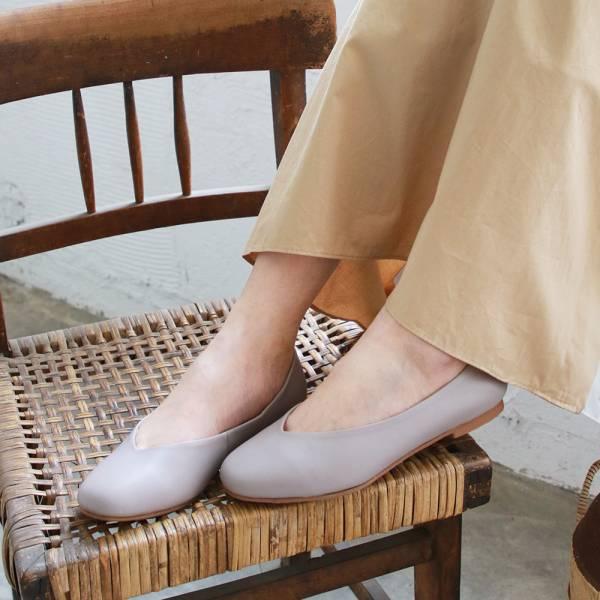 【訂製】小方頭素面綿羊皮平底鞋-莫蘭迪紫