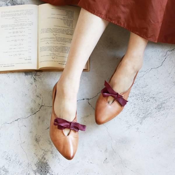 【限量現貨】世界系列ˍ手工擦色皮革蝴蝶結低跟鞋