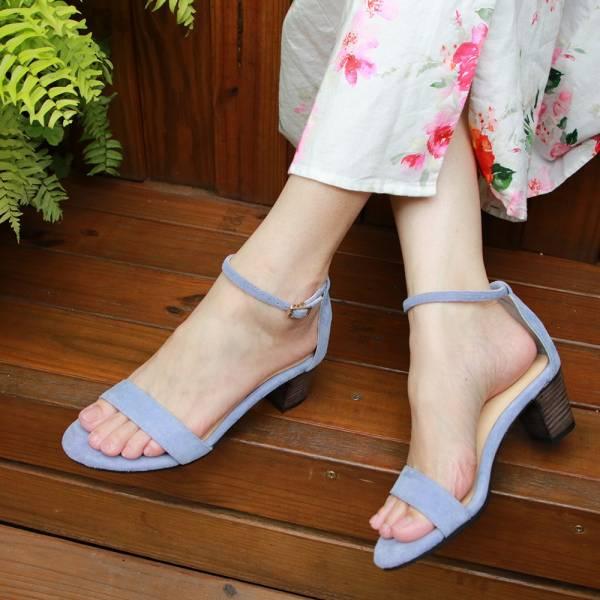 【訂製】細一字帶中跟涼鞋-藍紫