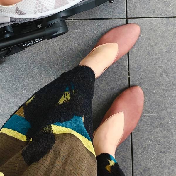 【預購】世界系列_日本製Recipe小腳效果V型微尖便鞋_磚粉