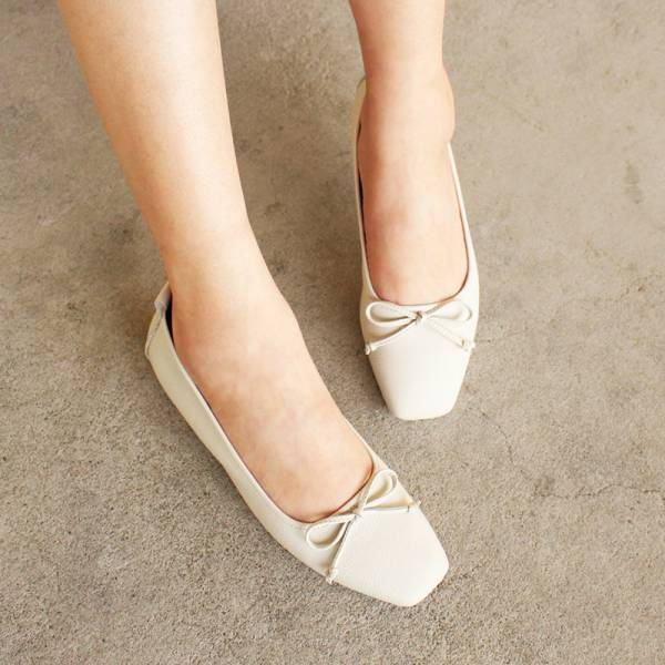 【預購】氣質小方頭芭蕾舞鞋-白