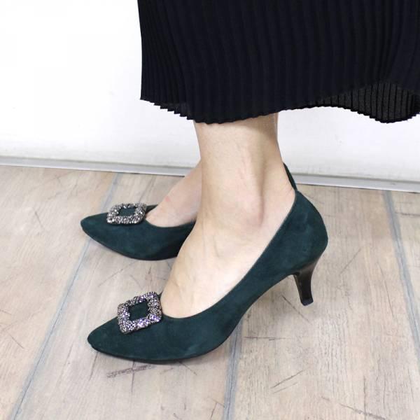 【最後一雙】鑲鑽亮扣真皮細跟鞋 - 復古綠25.0