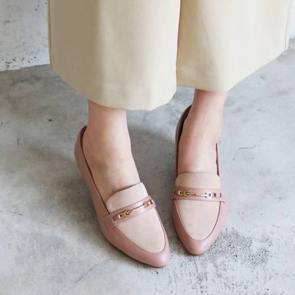【訂製】飾扣真皮樂福跟鞋-藕粉