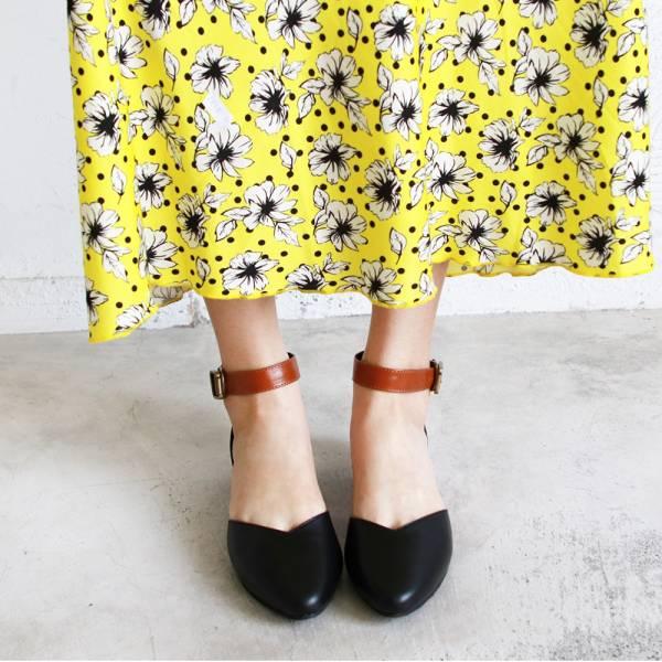 【訂製】寬腳版可穿,配色腳踝帶真皮便鞋-黑