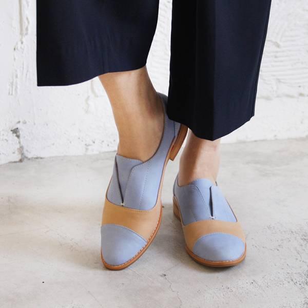 【訂製】簡約真皮復古紳士鞋-淺藍
