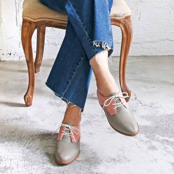 【手工訂製】【人氣色-灰粉紅】3.0再改版款_腳型更修長經典德比鞋