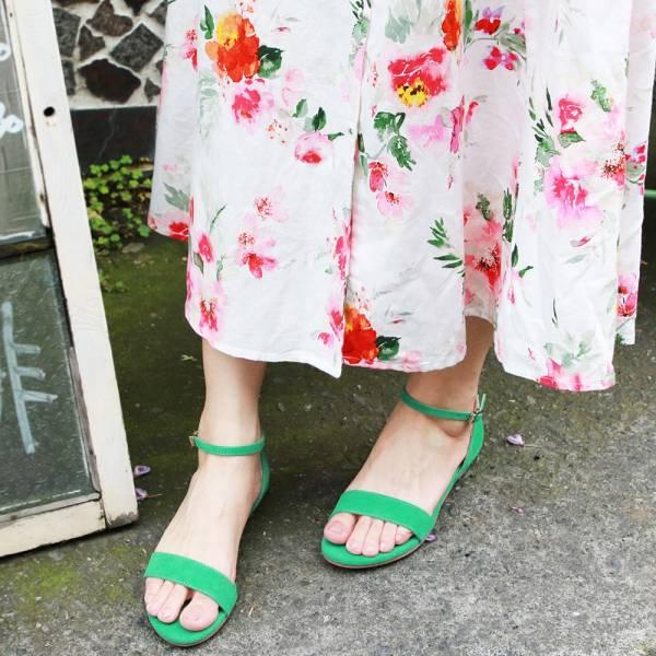 【訂製】小坡跟一字帶涼鞋-綠