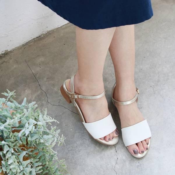 【訂製】簡約時尚寬一字帶涼鞋-白