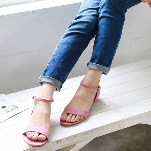 【訂製】小坡跟一字帶涼鞋-淺粉