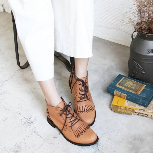 【訂製】寬腳板OK!流蘇片牛津真皮短靴-米