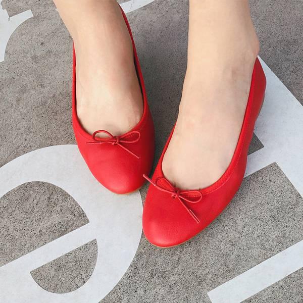 現貨【日本製】Recipe真皮芭蕾舞鞋-紅