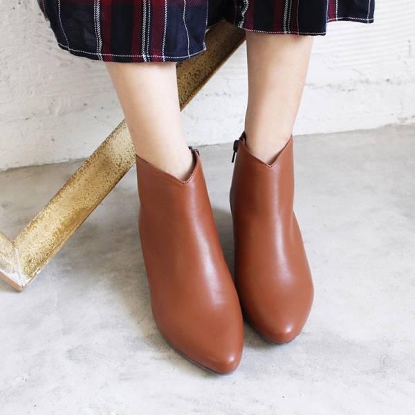 【訂製】羊皮素面安定低跟短靴-駝
