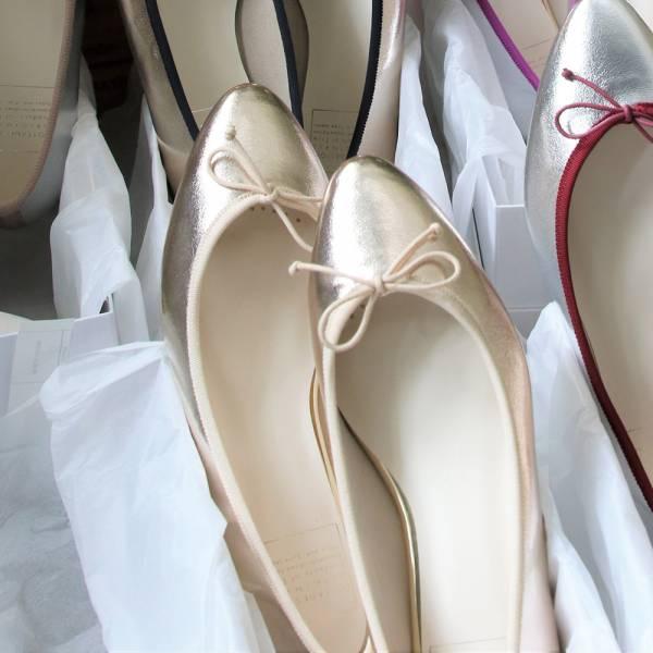 【手工訂製】【人氣色-淺金】TIAM日本製晴雨兩穿微尖頭芭蕾舞鞋