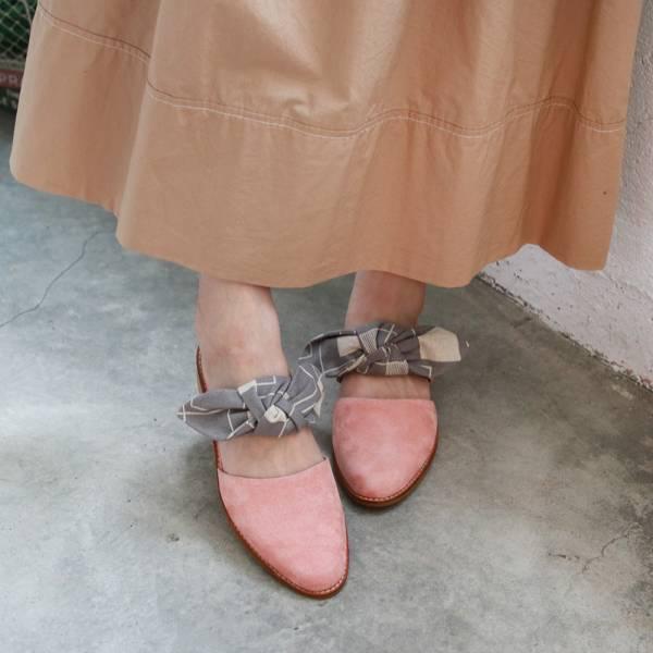 【訂製】異素材蝴蝶結穆勒鞋-淺粉