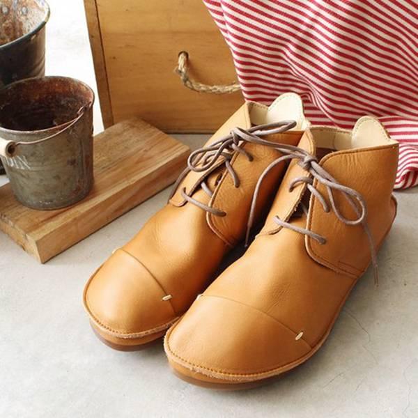 現貨【日本製】D'knot柔軟植揉牛皮綁帶短靴-駝
