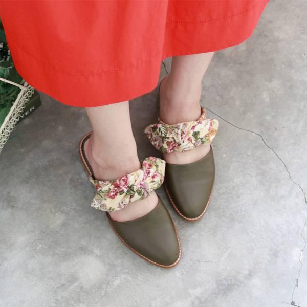 【訂製】異素材蝴蝶結穆勒鞋-卡其綠