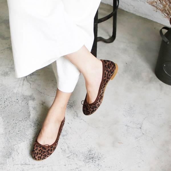 預購【日本製】Recipe圓頭真皮芭蕾舞鞋-豹紋