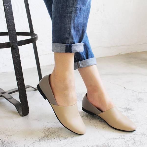 【訂製】雙色拼接真皮平底便鞋-淺米