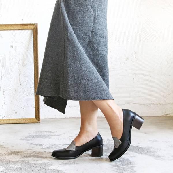 【手工訂製】安定感粗跟拼接牛津鞋_黑