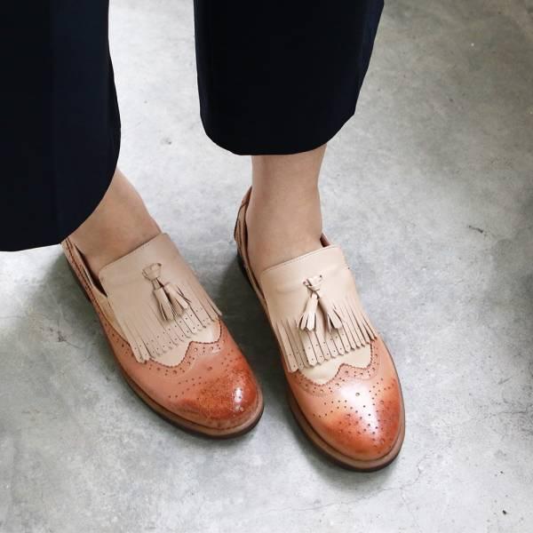 【現貨】世界系列復古雙色牛津鞋-米