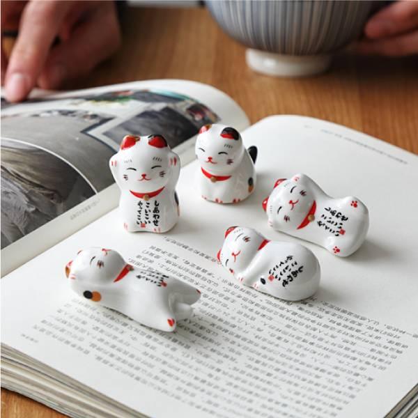 日和招財貓筷架(5入組) 日和,招財貓,筷架,紓壓,可愛,小物,療育
