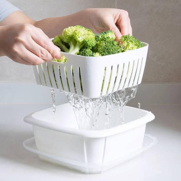 瀝水保鮮雙層盒 保鮮盒.收納盒.洗菜籃.雙層盒.瀝水籃.洗菜盆