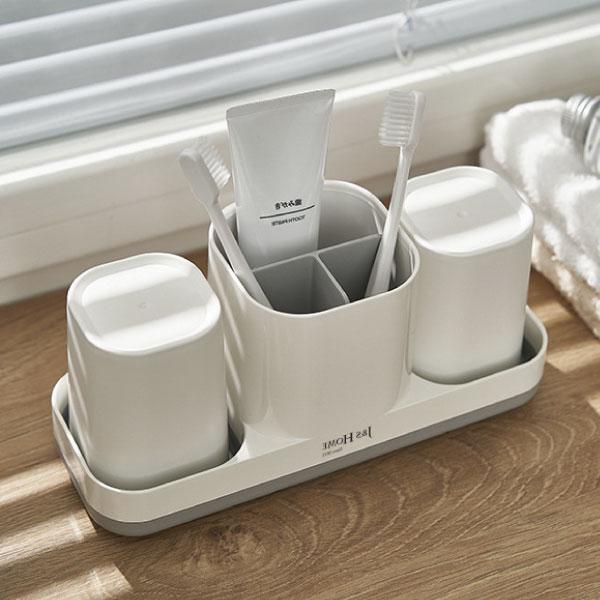 三合一洗漱套組 收納,牙刷,牙膏,浴室,漱口杯,整齊,日系