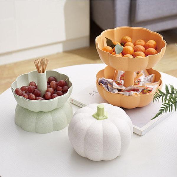 南瓜雙層零食盒 零食,收納,可愛,防蟲,多用途,雙層,客廳,水果