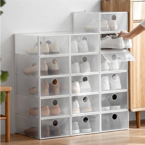 純白鞋盒 整齊,收納,鞋盒,疊放,節省,客廳,鞋子