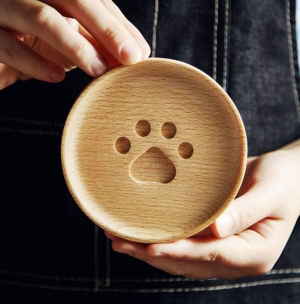 日和貓印杯墊 日和,貓印,杯墊,動物,立體,造型,櫸木,設計