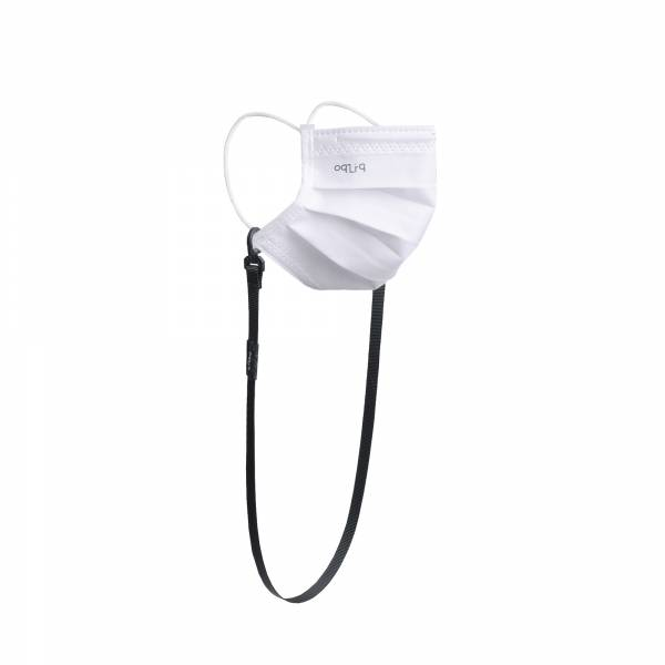 oqLiq - Project 10 - n-PTFE  PROTECTIVE  HIGH-BREATHABLE  MASK - white X1+10mm mask chain