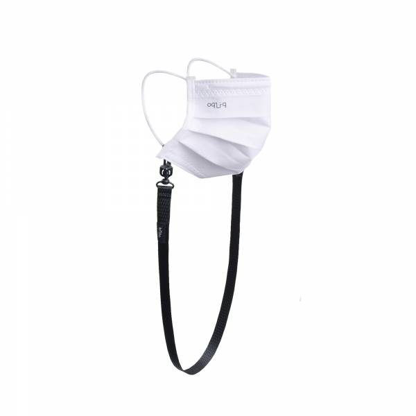 oqLiq - Project 10 - n-PTFE  PROTECTIVE  HIGH-BREATHABLE  MASK - white X1+15mm mask chain
