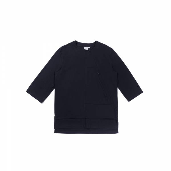 oqLiq 2021SS - natural blessing - inside out 3/4 sleeve tee - black
