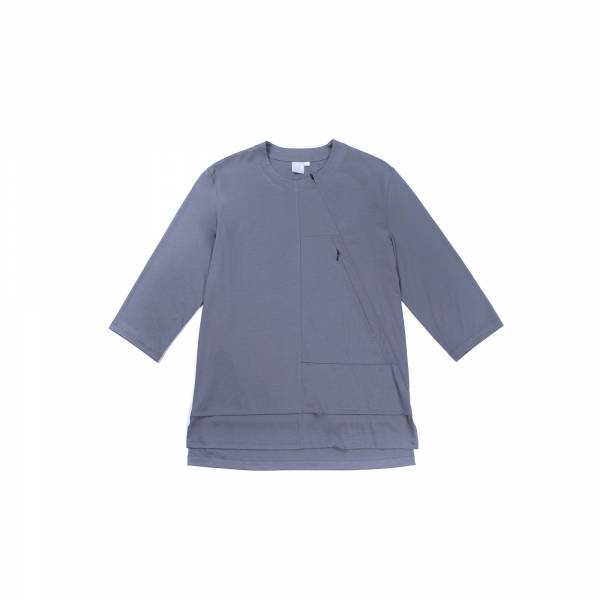oqLiq 2021SS - natural blessing - inside out 3/4 sleeve tee - gray