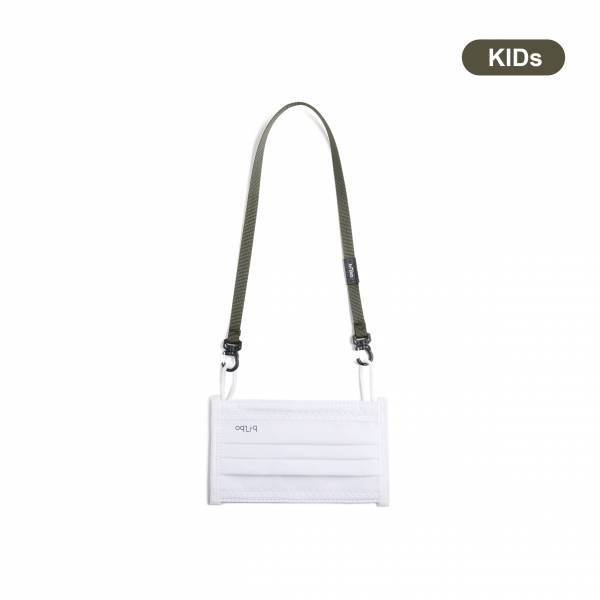oqLiq - Project 10 - n-PTFE  PROTECTIVE  HIGH-BREATHABLE  MASK - white X1+10mm mask chain(kids-olive)