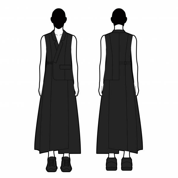 oqLiq 2021SS - Nature's Blessing - samue vest dress - black