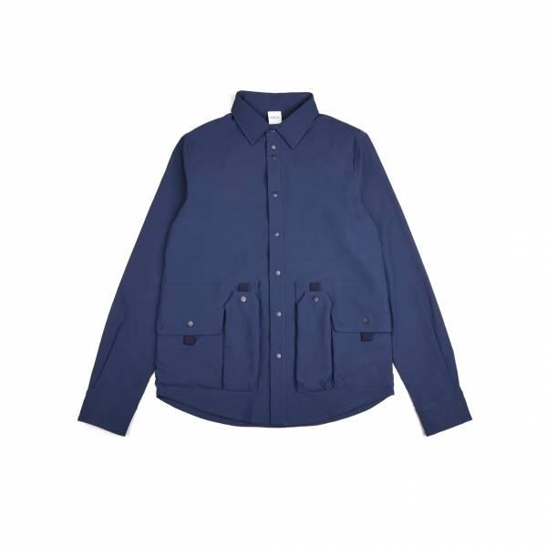 oqLiq 2020AW - omni direction - tai chi pocket shirt - blue