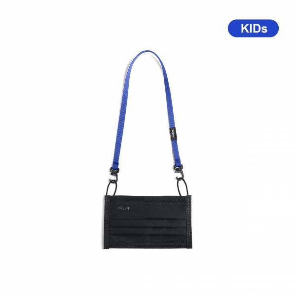 oqLiq - Project 10 - n-PTFE  PROTECTIVE  HIGH-BREATHABLE  MASK - black X1+10mm mask chain(kids-blue)