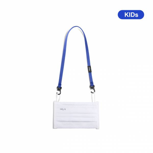 oqLiq - Project 10 - n-PTFE  PROTECTIVE  HIGH-BREATHABLE  MASK - white X1+10mm mask chain(kids-blue)