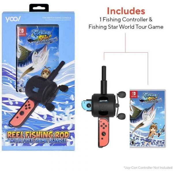 全新 NS 原版卡帶, 釣魚明星 世界巡迴賽+專用釣竿 同捆組 中英文合版