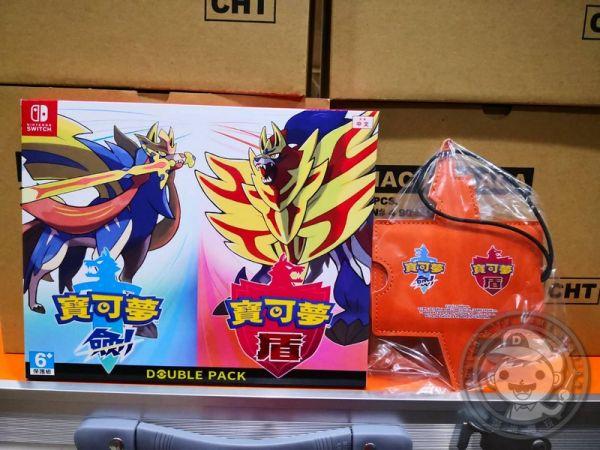 全新 NS 原版遊戲卡帶, 精靈寶可夢 劍與盾 中文版雙重包, 內附特典DLC+行李牌贈品