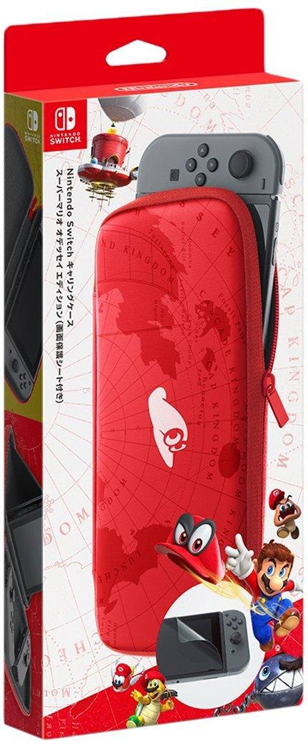 全新日本任天堂原廠 NS 主機用 保護包(瑪利歐奧德賽紅色款)+液晶保護貼(不代貼)
