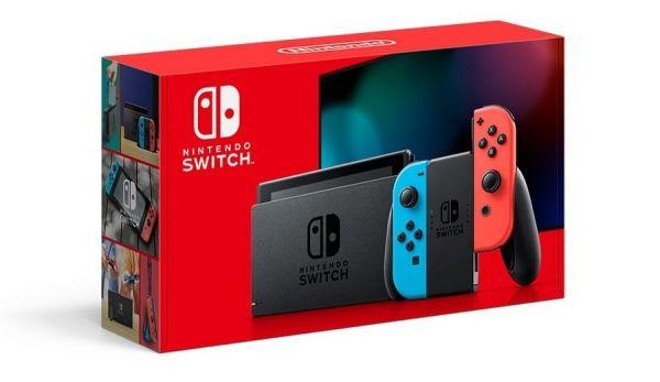 全新任天堂 Switch 新型號台灣公司貨黑色主機+螢幕保護貼(不代貼), 附發票代理商保固一年